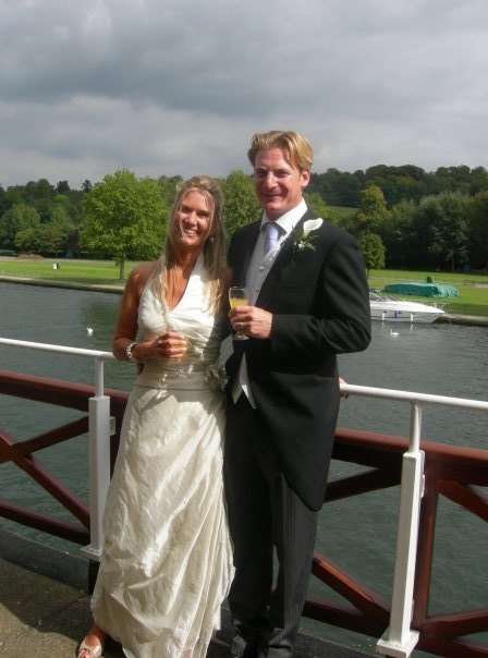 Sam & Lou on their wedding day.  On the Thames in Henley & the weather held throughout.  They look gorgeous & happy & Lou's dress is beautiful.