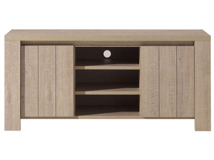 Bahut meuble TV BREST NATURE coloris chêne clair prix promo Meuble Tv Conforama pas cher 499.99 €