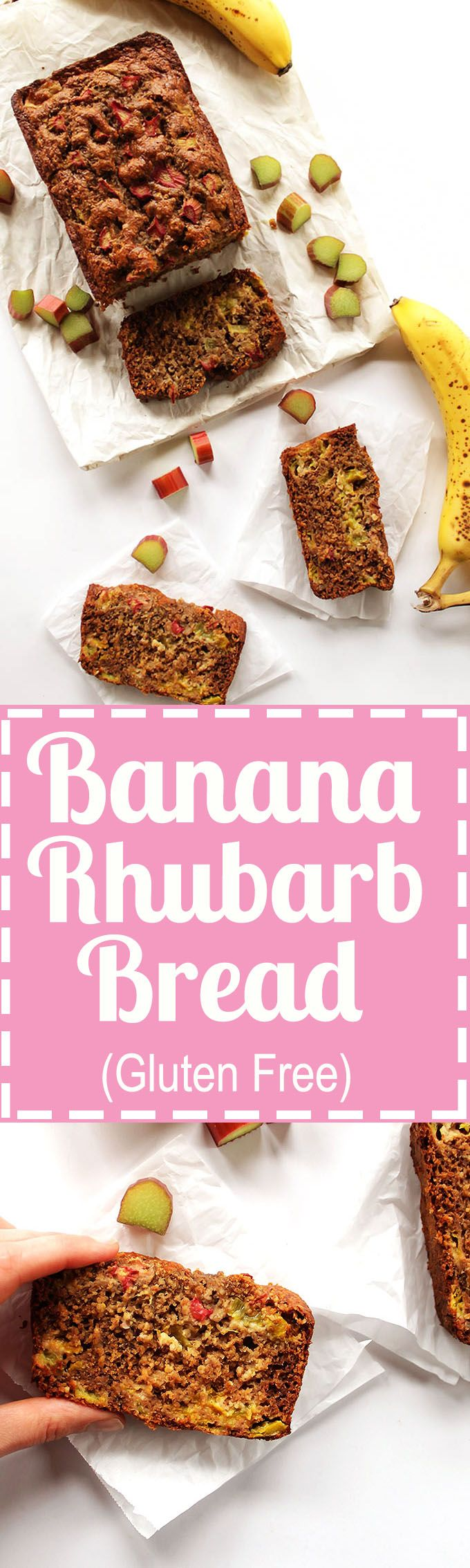 Banana Rhubarb Bread - Moist banana bread with tart rhubarb studded through out each piece. Great recipe for spring time! Gluten Free!