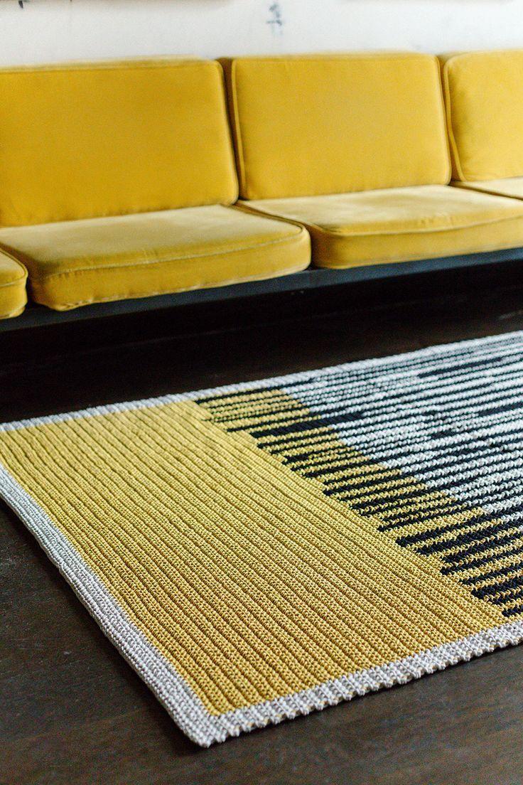 Yellow Black And White Crochet Area Rug Large Scandinavian Rug