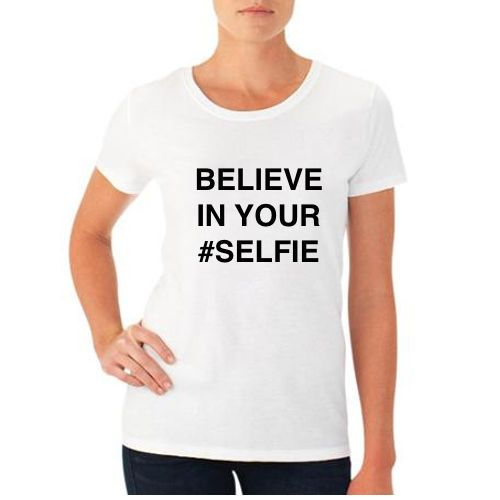 BELIEVE IN YOUR #SELFIE Large L white T-shirt FUNNY tumblr SELFIE NEW #GATTACA #GraphicTee