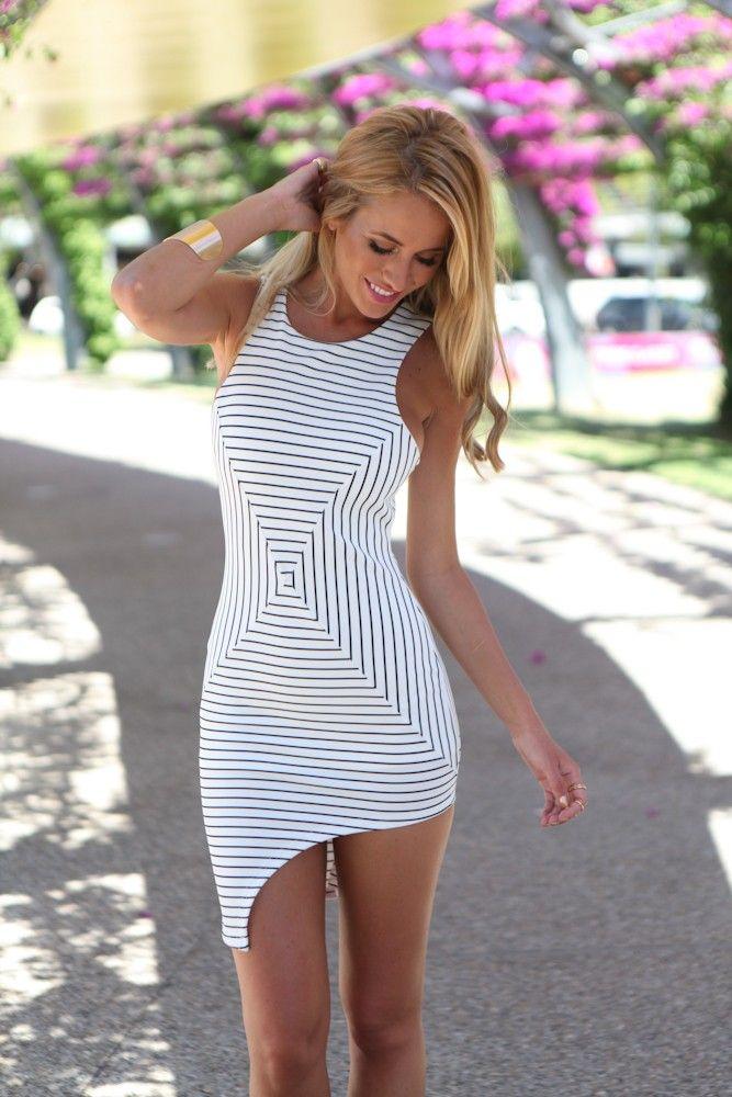 White and Black Pin Stripe Asymmetrical Bodycon Dress   USTrendy www.ustrendy.com