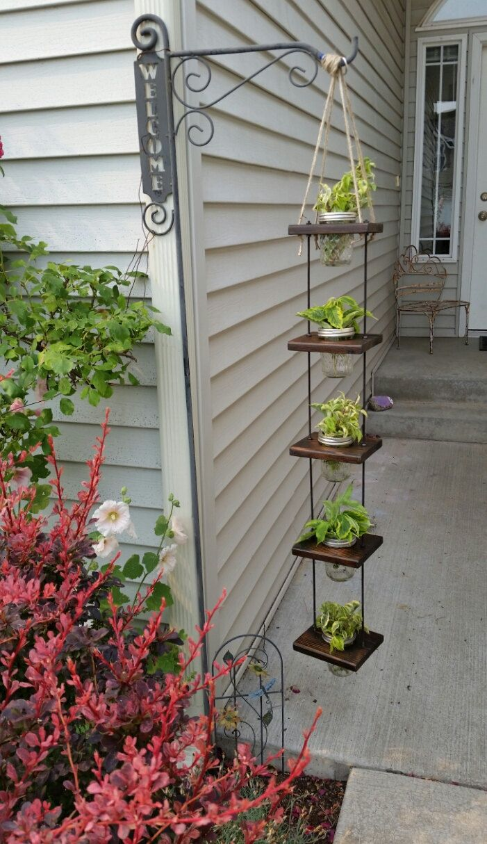 Hanging Planter With Mason Jars 3ft 5 Tier (Five 8oz Mason Jars Included) by BloomArtistry on Etsy https://www.etsy.com/listing/196778839/hanging-planter-with-mason-jars-3ft-5