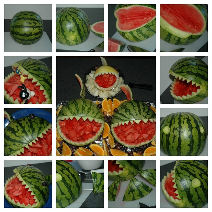 Watermelon/melon sharks/monsters. Must do this for my summer girls birthday parties!