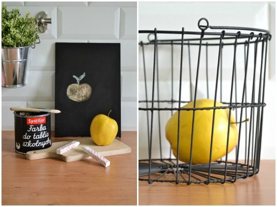 Passion shake blog - DIY chalkboard stand | my kitchen | Scandinavian style kitchen | Pastel kitchen | Pink Bloomingville scale | wire basket | Metro tiles | Mint kitchen | Small kitchen design idea