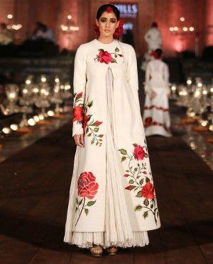 Ivory Jacket Style Anarkali with Rose Motifs