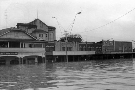 The Saraton Theatre covered by floodwaters in 1956, one of the many occasions it was inundated.