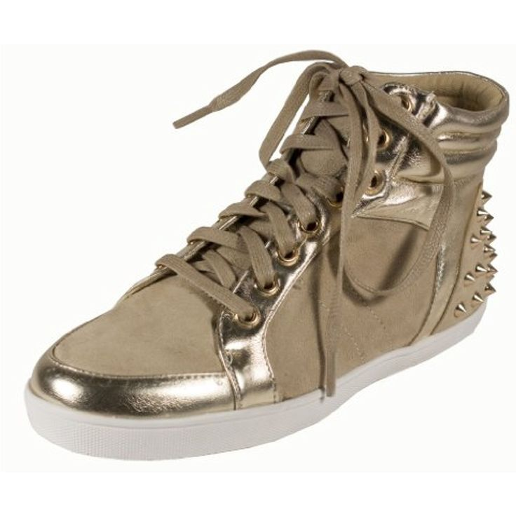 By Soda Comfy and Fashionable Studded Athletic Sneakers in Taupe Suede  Leatherette **
