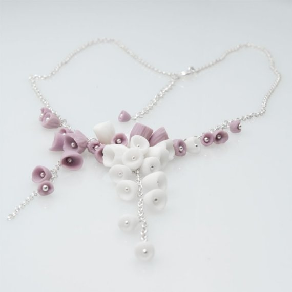 Handmade Ceramic Jewelry , Los Cancajos Sterling Silver Necklace, Purple and White