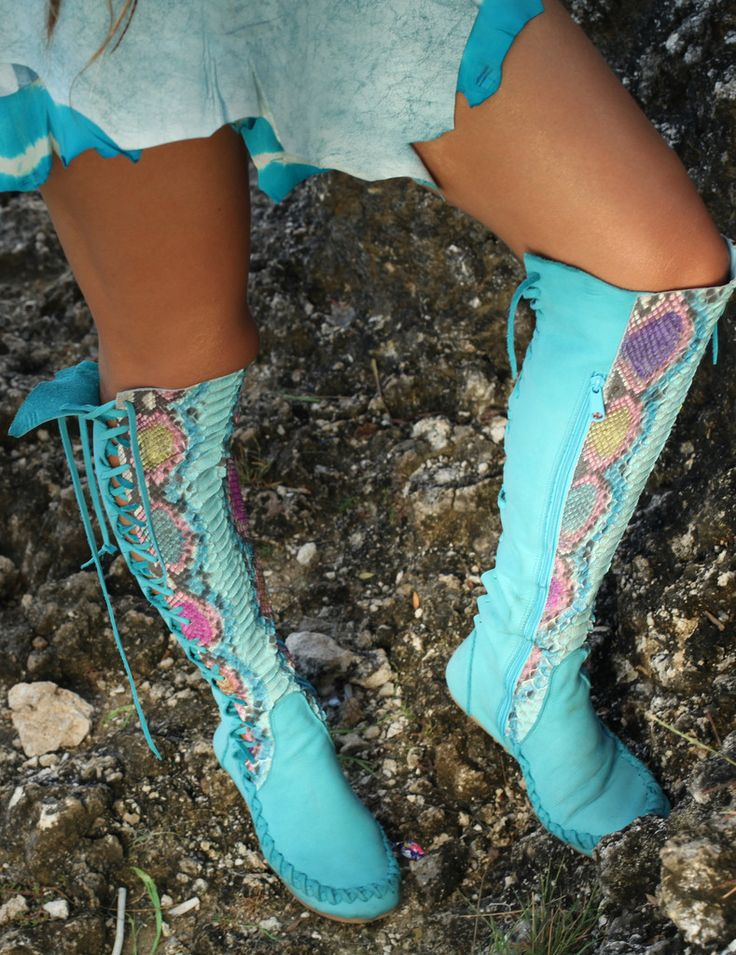 Leather Boots – Turquoise Python Knee High Leather Boots | Gipsy Dh...