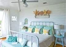 Love the aqua blue  colour scheme pannelled walls mix with clear white curtains for a beach themed bedroom -Beach Bedding Decor - Bing Images