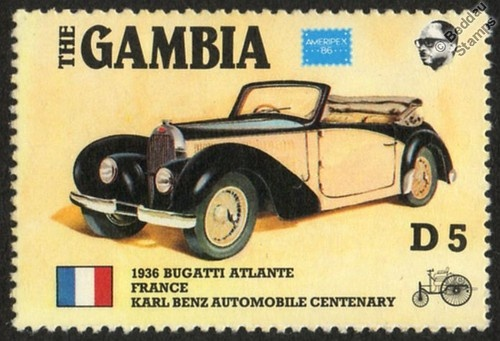 1936 Bugatti Type 57 Atlantic Atlante France CAR Stamp 1986 THE Gambia | eBay