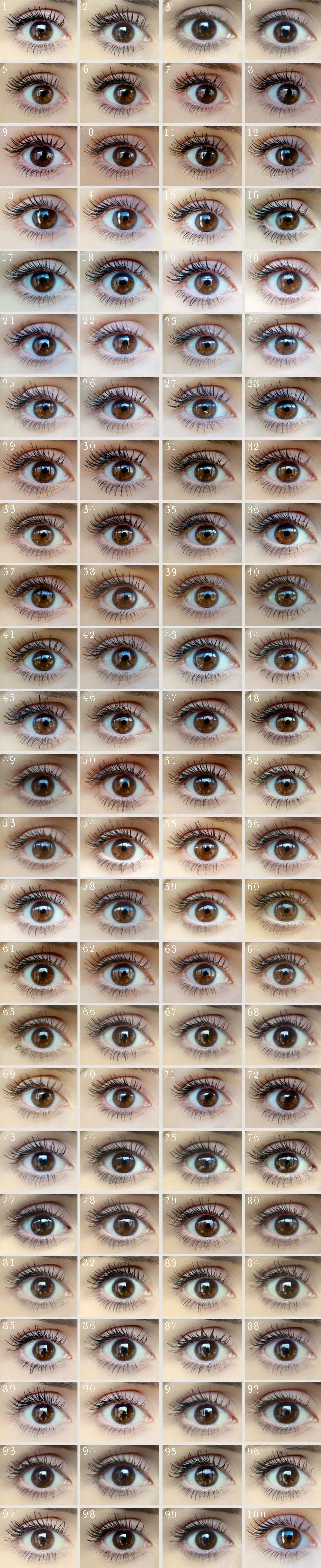MASCARA :: DAYYYYUMMM!!! 100 MASCARAS tested on ONE EYE! For comparison! by Cosmo's Beauty Lab. From what I could tell & for big lashes, L'oreal Paris Volume Million Lashes Mascara (#45) gave the most volume, thickness & length! And it's drugstore/cheap! Maybelline's The Falsies (#25) & Dior Show (#29) weren't bad, either.