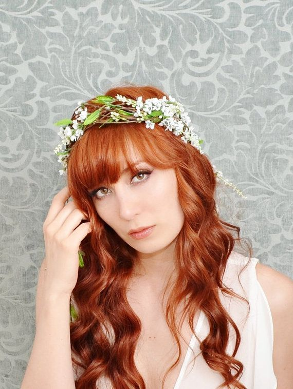 Wreath whimsical white floral crown wedding by gardensofwhimsy