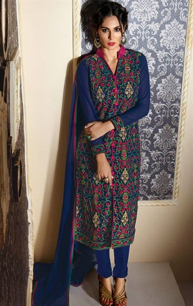 Tempting Navy Blue Designer Salwar Suit