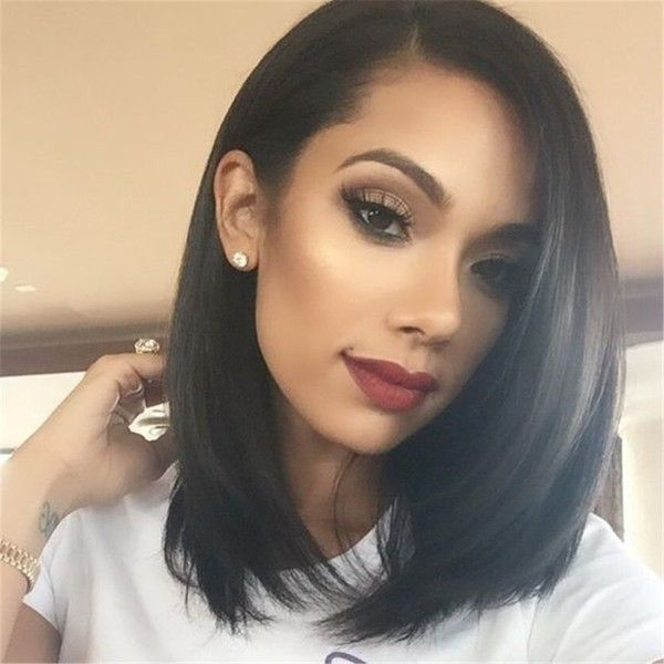 """14"""" Bob Wigs Short Straight Syntheyic Hair Full Wigs for Women Natural... ($17) ❤ liked on Polyvore featuring beauty products, haircare, hair styling tools, wigs, bob hair, bob wigs and hair wigs"""