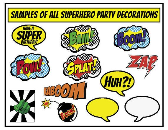 """Superhero Party Decorations (pick any 6) -  PRINT, CUT and CREATE (each one is 8.5"""" x 11"""" page size)"""