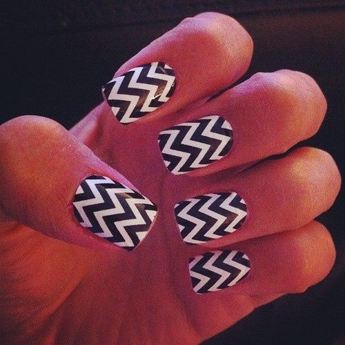 Chevron Nails- Want to know how? paint scotch tape, any color you want, and cut it with those special crafting scissors that allow you to create zig-zag cuts. or, normal scissors if you are good at creating zig-zags. Then, ta-da! you have your own chevron nail stickers.
