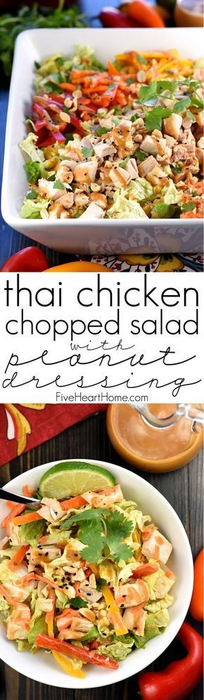 Thai Chicken Chopped Salad with Peanut Dressing ~ exploding with the contrasting flavors and textures of crunchy Napa cabbage, juicy chicken, colorful peppers, sweet carrots, salty peanuts, and fresh cilantro! | http://FiveHeartHome.com