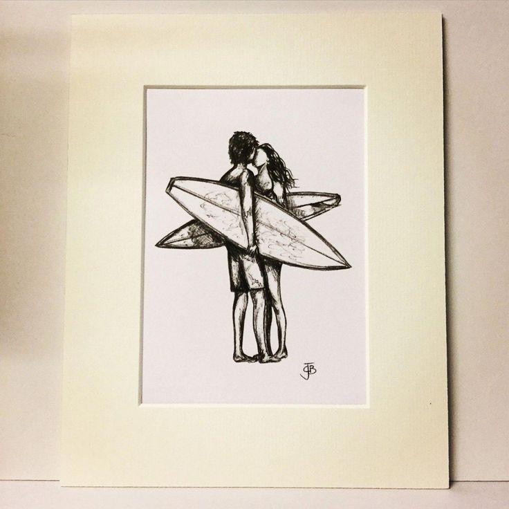 Valentine's Mounted signierter Druck von Biro Sketch Surfern Kuss Paar Liebe Surfer Mädchen Surf Art Surfgirl Illustration von Spellboundbythesea auf Etsy #sur …