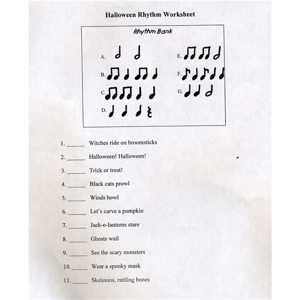 halloween rhythm worksheet for beginners post individual rhythms around the room then have. Black Bedroom Furniture Sets. Home Design Ideas
