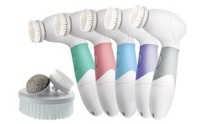 Convenient brush with four skin-cleansing attachments, including exfoliating facial brush and pumice stone