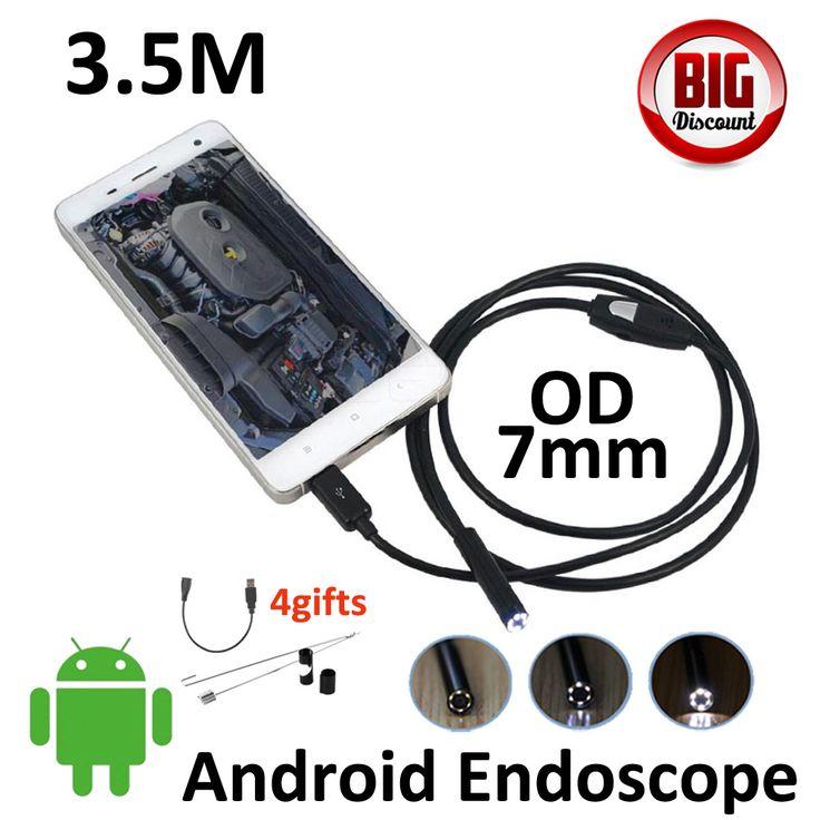 3.5 m micro usb android teléfono inspección boroscopio endoscopio cámara 7mm impermeable micro usb android otg usb 6led cámara estenopeica