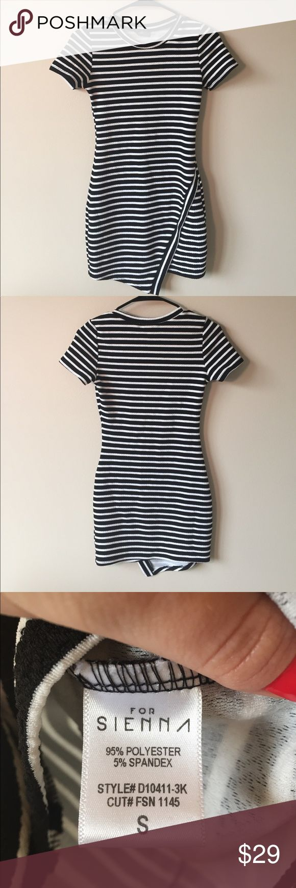 Striped Bodycon Dress Black and white striped bodycon dress. Asymmetrical hem. 29 inches long, bust measures 14 inches across. Has a lot of stretch to it. Excellent condition! Dresses Mini