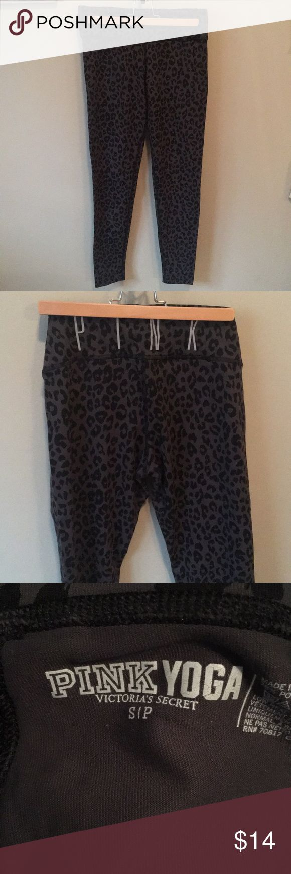 Victoria's Secret Pink Leopard Print Leggings, S Victoria's Secret Pink Black and Gray Leopard Print Yoga Leggings, Size Small. Show small amount of wear in between legs. Only worn a few times. PINK Victoria's Secret Pants Leggings