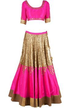 Fuschia sequinned lehenga set available only at Pernia's Pop-Up Shop.