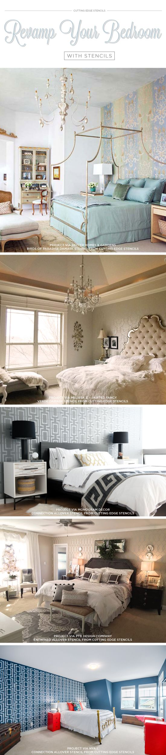 Cutting Edge Stencils shares bedroom decorating ideas featuring DIY stenciled accent walls. http://www.cuttingedgestencils.com/wall-stencils-stencil-designs.html