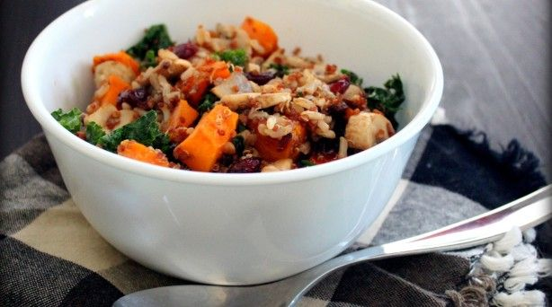Brown Rice-Quinoa Pilaf w/Butternut, Mushrooms & Kale: Healthy Meals, Food Recipes, Eating Well, Butternut Squash, Brown Ricequinoa, Ricequinoa Pilaf, Girls Eating, Rice Quinoa Pilaf, Brown Rice Quinoa