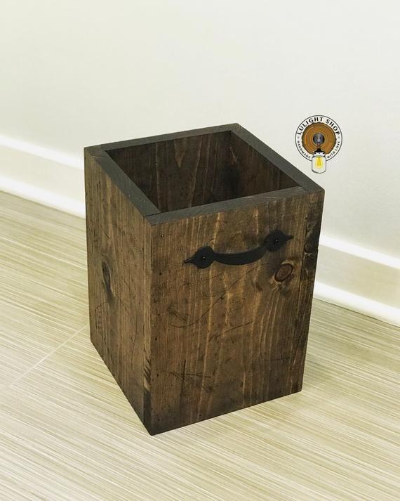 Rustic Garbage Can Bathroom Trash Can Waste Basket Storage Bin Wood Basket Wooden Trash Can Bathroom Waste Basket Waste Bin Can Wood Bathroom Trash Can Waste Basket Wood Basket