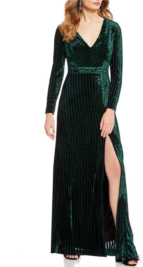 0c667e9527b0 Badgley Mischka Belle Stripe Velvet Gown #Belle#Mischka#Badgley ...