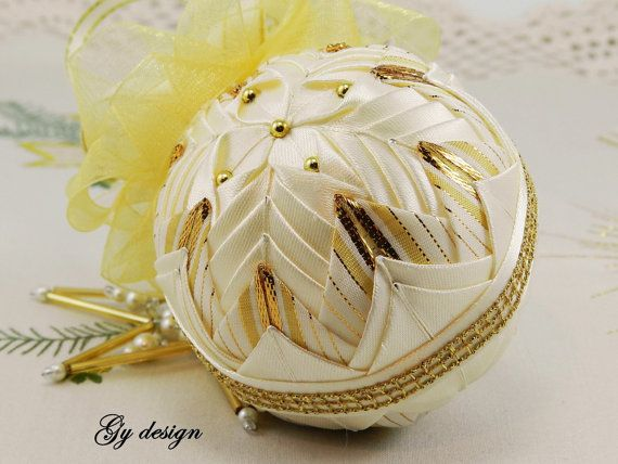 Gold dream Christmas ornament patchwork ornament xmas by Gydesi