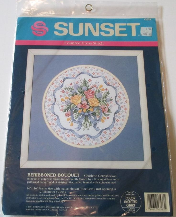 Cross Stitch Kit #13533 NIP RARE. Beribboned Bouquet - Dimensions Counted. This is a great item to add to your cross stitch collection. This kit is RARE and hard to find. Kit contains: cotton threads, needle, 14 count white Aida . | eBay!