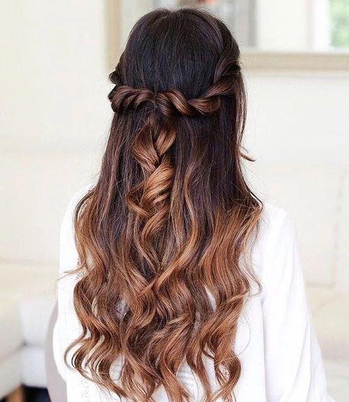 Meio rabo con fios enrolados! Half up half down hair style