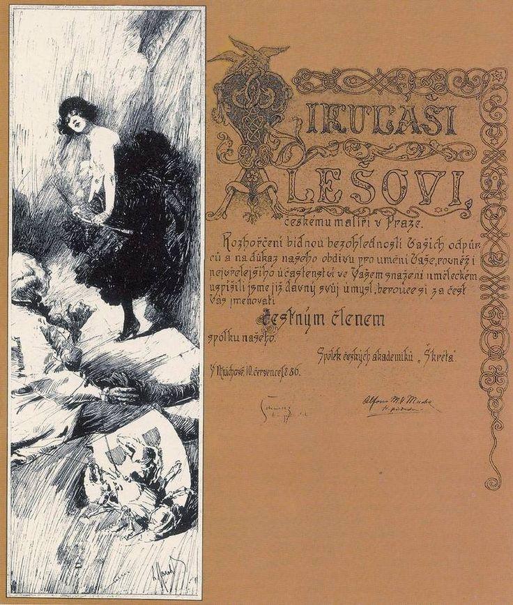 Diplôme du Škréta Spolek décerné à Mikoláš Aleš et signé par Mucha qui, cette année-là, présidait le groupe. 49 x 15 cm. Praha - Památník národního písemnictví. Mucha