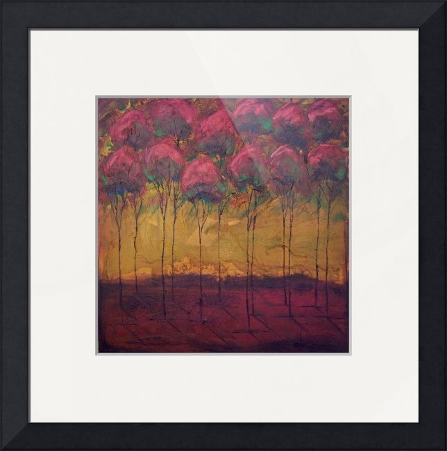 """""""all in a row  magenta tree line horizon"""" by Kristen Stein, Philadelphia // Rich, warm, earthy textured abstract landscape. This mixed media painting of paper and acrylics has an rustic, aged, antique feel while still having a modern focus.This image is part of the Art for Cancer group. 25% of the sale of this image will be donated to Susan G. Komen... // Imagekind.com -- Buy stunning fine art prints, framed prints and canvas prints directly from independent working artists and…"""