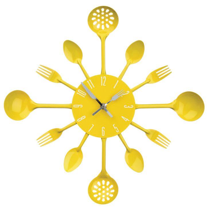 Wall Clock, Yellow Cutlery, Metal