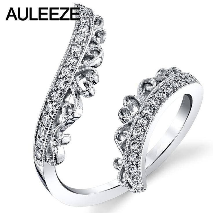 African diamond engagement ring Ornate Filigree Open Ring Natural African Diamond Wedding Bands For Women 14K Solid White Gold Engagement Ring Anniversary