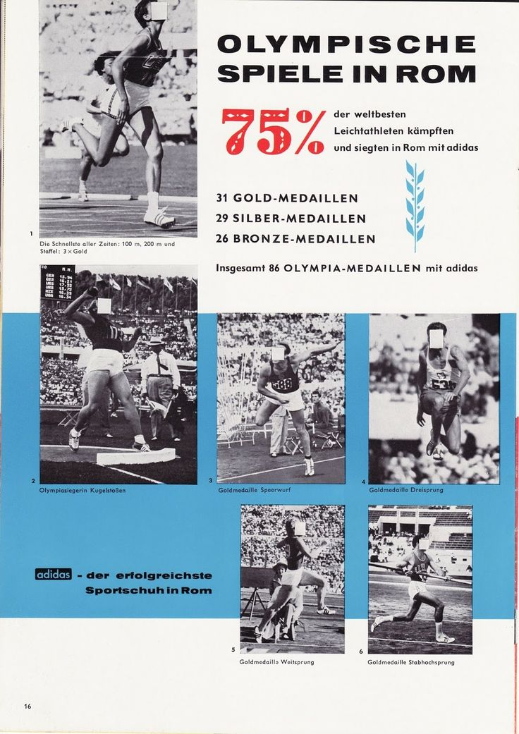 Adidas advertising from the 1960 Rome Olympics showing how many gold, silver and bronze medals were won by athletes wearing adidas footwear...  As an aside, the Rom trainers were so called because a legal challenge forbid adidas to use the name Rome. The same also goes for Athen (Athens) and the recent Rivea release (Riviera)