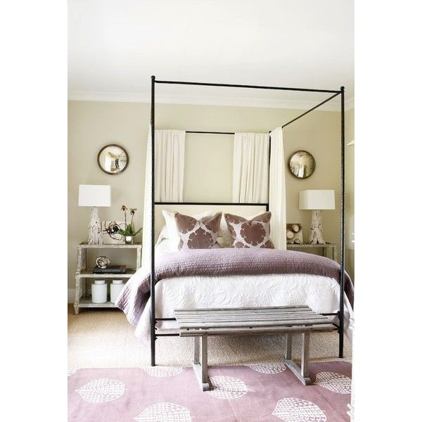 bedrooms - Oly Studio Marco Bed Madeline Weinrib Atelier Lilac Song Rug iron canopy bed purple blanket purple pillows tan walls white drapes panels rustic gray bench white washed step tables nightstands white branch lamps convex mirrors found on Polyvore
