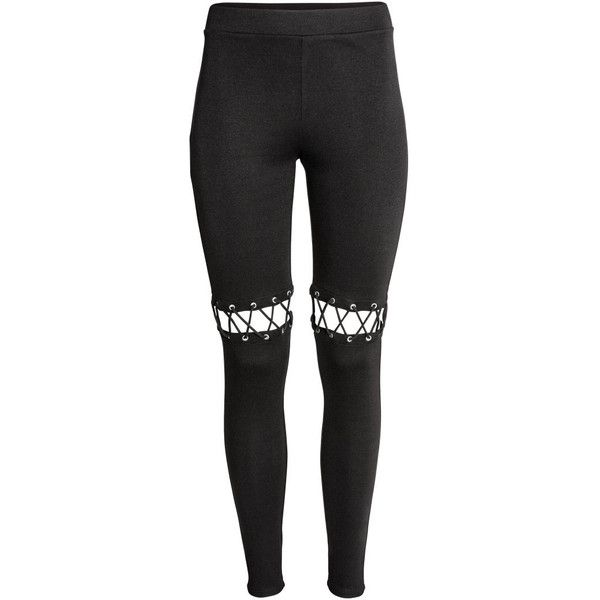 Leggings with Lacing $34.99 ($35) ❤ liked on Polyvore featuring pants, leggings, bottoms, stretch waist pants, lace up leggings, elastic waist pants, lace-up pants and jersey pants