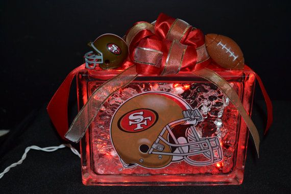 Check out this item in my Etsy shop https://www.etsy.com/listing/174543130/san-francisco-49ers-lighted-glass-block