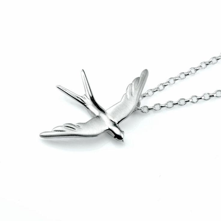 Swallow Neckalce - Silver  #jewelry #neckalce #charm #swallow #silver #spring #bird #gift #elegant