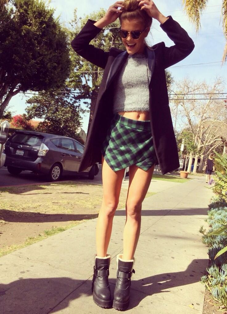 Model Nina Agdal in the Motel Verona Crop Sweater (http://www.nastygal.com/clothes/motel-verona-crop-sweater) & Courted Skort in Gingham (http://www.nastygal.com/product/courted-skort--gingham)