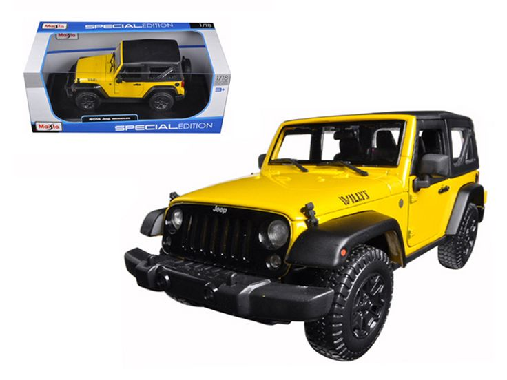 2014 Jeep Wrangler Willys Yellow 1/18 Diecast Model Car by Maisto - Brand new 1:18 scale diecast model car of 2014 Jeep Wrangler Willys Yellow die cast model car by Maisto. Has steerable wheels. Brand new box. Rubber tires. Has opening hood, doors and trunk. Made of diecast with some plastic parts. Detailed interior, exterior, engine compartment. Dimensions approximately L-9.5, W-4, H-3.5 inches. Please note that manufacturer may change packing box at anytime. Product will stay exactly the…