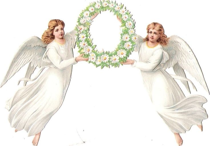 Oblaten Glanzbild scrap die cut chromo Engel angel  Margeriten Kranz wreath