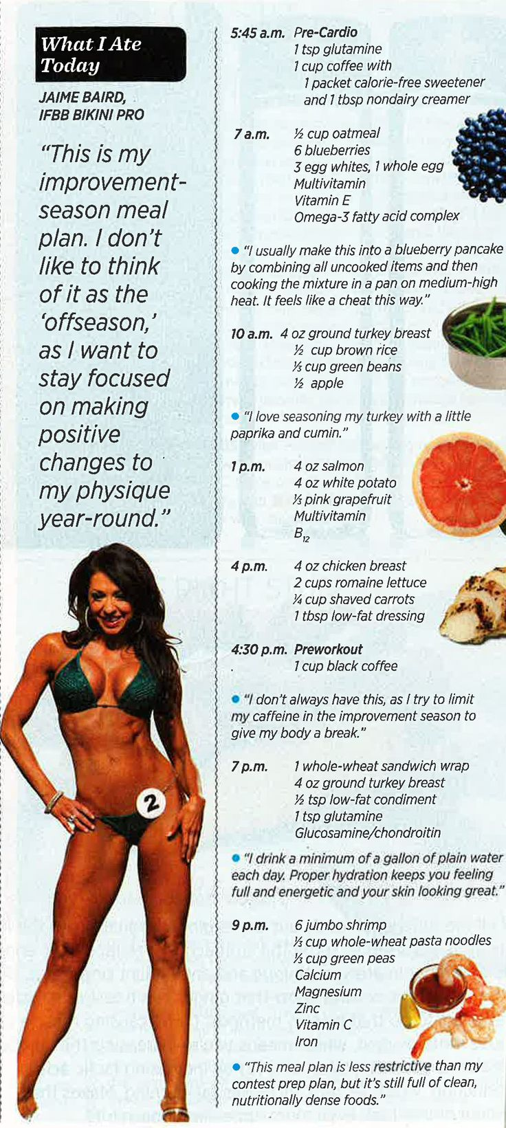 "Jaime Baird's ""off season"" daily meal plan"